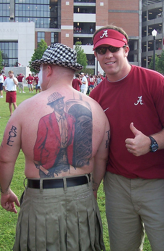 alabama fan bear bryant tattoo