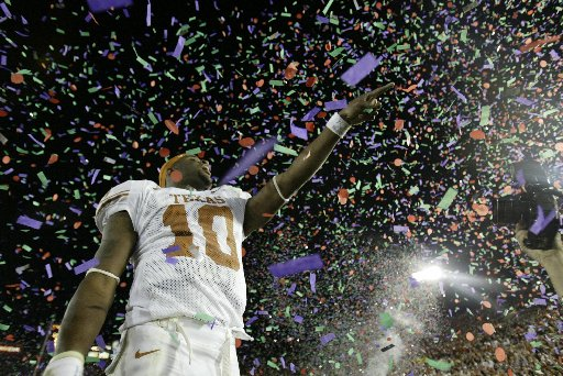 Vince Young celebrating after winning National Championship